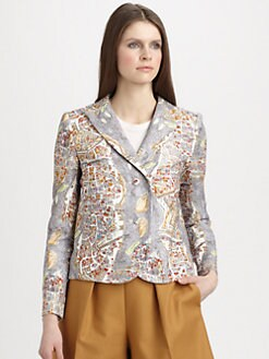 Carven - Paris-Print Cropped Blazer