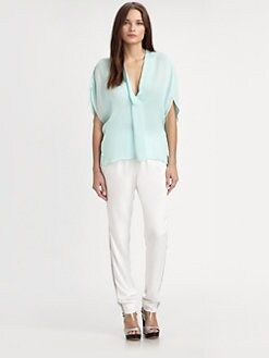 L'AGENCE - Draped Silk Top