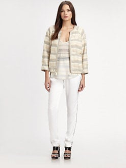 L'AGENCE - Striped Drawstring Jacket