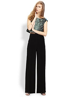 Elizabeth and James - Reed Silk Dalmatian-Print Crop Top