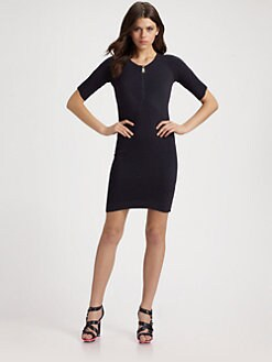 McQ Alexander McQueen - Puckered Knit Zip Dress