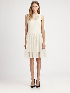 Carven - Semi-Sheer Full-Skirt Dress