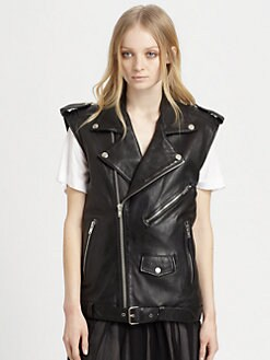 BLK DNM - Leather Moto Vest