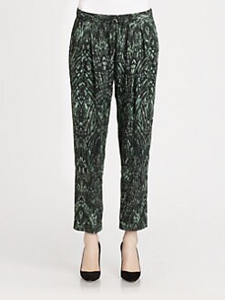Haute Hippie - Feather-Print Silk Pants