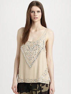 Haute Hippie - Embellished Silk Tank Top