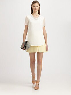 3.1 Phillip Lim - Silk & Cotton Pin & Eyelet Neck Top