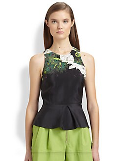 3.1 Phillip Lim - Embellished Silk Printed Peplum Top