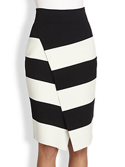 A.L.C. - Campbell Striped Wrap-Effect Skirt