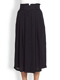 A.L.C. - McDermott Silk Belted Button-Front Midi Skirt