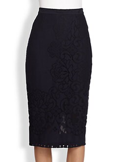 A.L.C. - Knit Lace-Patterned Pencil Skirt