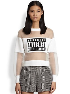 Alexander Wang - Parental Advisory Neoprene & Sheer Organza Sweatshirt