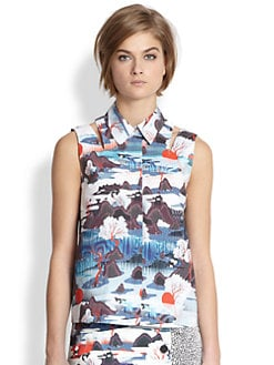 Opening Ceremony - Cutout Printed Cotton Sleeveless Shirt