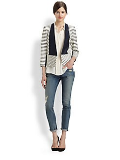 By Malene Birger - Chambray-Trimmed Striped Blazer