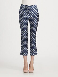 By Malene Birger - Silk Anchor-Print Cropped Straight-Leg Pants