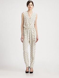 By Malene Birger - Silk Anchor-Print Jumpsuit