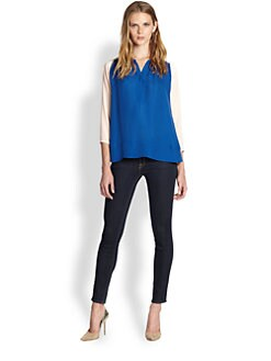 By Malene Birger - Stretch-Silk Colorblock Blouse