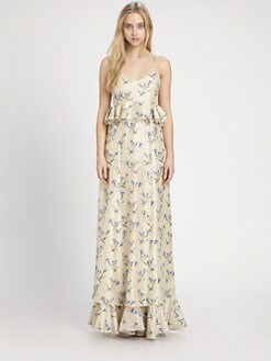 Suno - Silk Peplum Maxi Dress