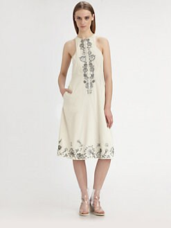 Suno - Embroidered Midi Dress