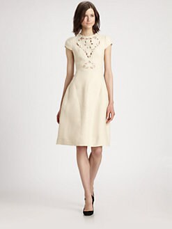 Carven - Embroidered Cutout Dress