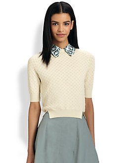 Carven - Stamp-Print Collar Sweater