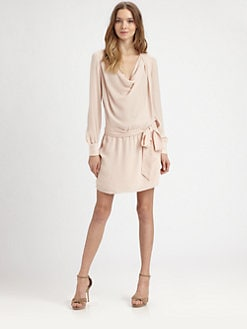 Haute Hippie - Silk Belted Cowlneck Dress