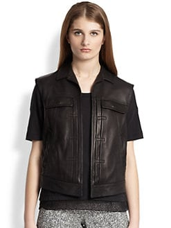 Rag & Bone - Trucker Perforated-Panel Leather Vest