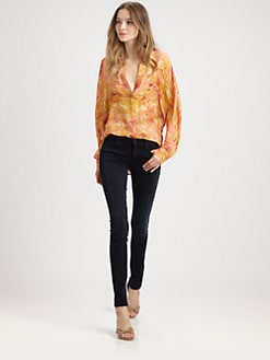 Haute Hippie - Printed Silk Boyfriend Shirt