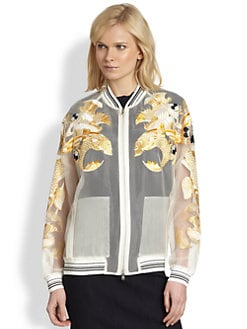 3.1 Phillip Lim - Fish Embroidered Sheer Organza Bomber Jacket