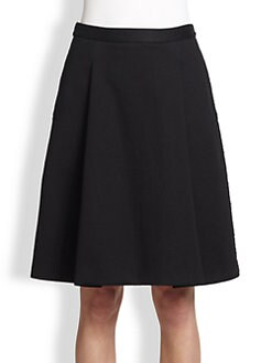 3.1 Phillip Lim - Folded-Front Cotton A-Line Skirt