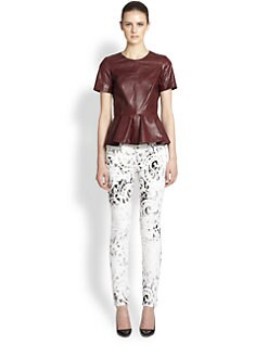 McQ Alexander McQueen - Leather Peplum Top