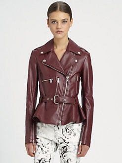 McQ Alexander McQueen - Congo Leather Flared Biker Jacket