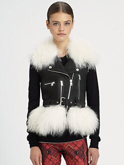 McQ Alexander McQueen - Leather & Mongolian Lamb Shearling Vest