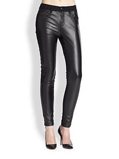 McQ Alexander McQueen - Faux Leather-Panel Skinny Jeans