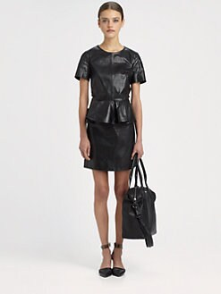 McQ Alexander McQueen - Leather Peplum Dress