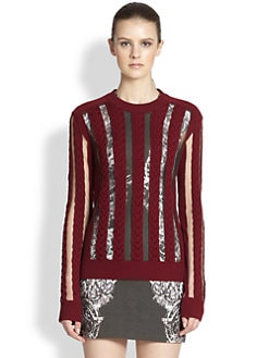 McQ Alexander McQueen - Sheer-Panel Cable-Knit Sweater