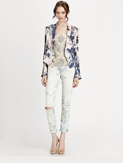 Haute Hippie - Silk Cropped Floral-Print Blazer