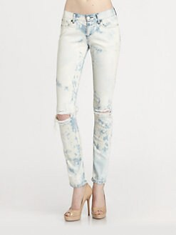 Haute Hippie - Low-Rise Distressed Skinny Boyfriend Jeans