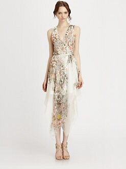 Haute Hippie - Silk Chiffon Floral-Print Wrap Dress