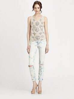 Haute Hippie - Rhinestone-Embellished Lace Top