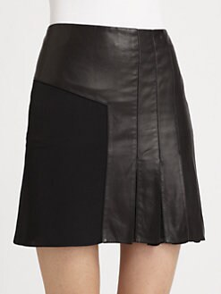 3.1 Phillip Lim - Leather & Silk Chiffon Pleated Skirt