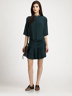 3.1 Phillip Lim - Silk Beaded-Neck Pleated Shirtdress
