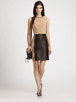 3.1 Phillip Lim - Leather-Paneled Wool-Blend Dress