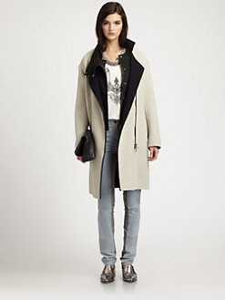 3.1 Phillip Lim - Detachable Vest-Layered Wool-Blend Coat