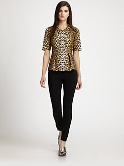 3.1 Phillip Lim - Leopard-Print Leather Peplum Top