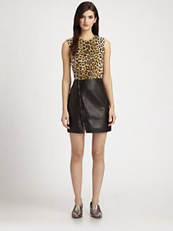 3.1 Phillip Lim - Colorblock Leopard-Print Leather Biker Dress