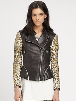 3.1 Phillip Lim - Printed Leather Peplum Moto Jacket