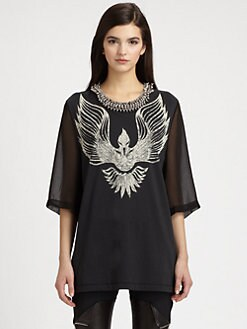 3.1 Phillip Lim - Silk & Cotton Beaded-Neck Phoenix-Print Tee