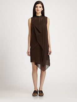 3.1 Phillip Lim - Leather-Trimmed Draped Stretch Silk Dress