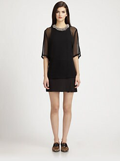 3.1 Phillip Lim - Silk Chiffon & Cotton Beaded-Neck Layered Dress