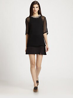 3.1 Phillip Lim - копринен шифон и Cotton Пенис-Neck Layered рокля